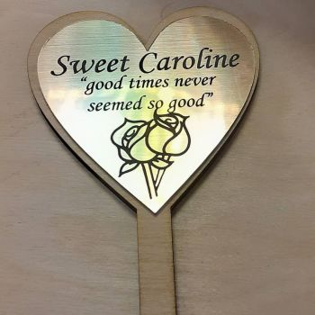 Heart with Gold Laminate Wooden Garden Sign - Any Wording