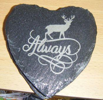 4 x Always Deer Design Coaster Set Laser Engraved Slate
