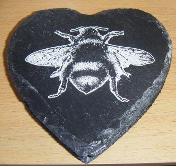 4 x Bee Design Coaster Set Laser Engraved Slate