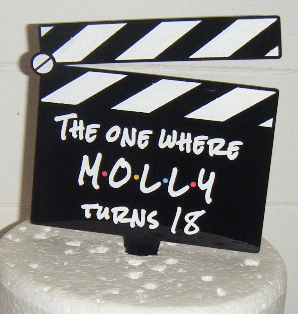 Friends Themed Clapperboard Number and Name Custom Cake Topper