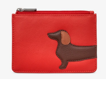 Dottie Dachshund Zip Top Leather Coin Purse - Yoshi