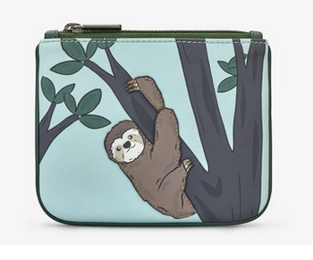Sloth Zip Top Leather Coin Purse - Yoshi