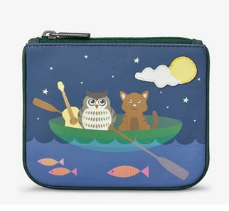 Owl and Pussy Cat Zip Top Leather Coin Purse - Yoshi