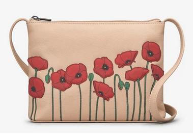 Poppy Flower Frappe Leather Cross Body Bag