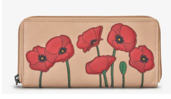 Poppy Flower Frappe Leather Baxter Purse - Yoshi