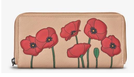 Poppy Flower Frappe Leather Baxter Purse - Yoshi