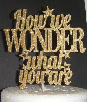 How We Wonder What You Are - Reveal Baby Shower Cake Topper