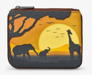 Safari Animals Afica Zip Top Leather Coin Purse - Yoshi