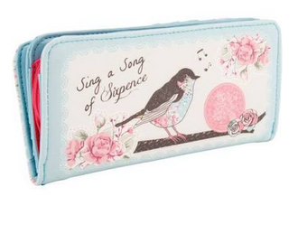 Sing a Song of Sixpence Bird Posies Vintage Chic Zip Flap Purse