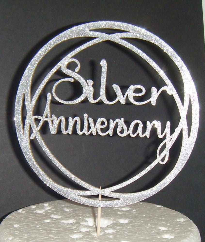 Siver Anniversary Circle Cake Topper