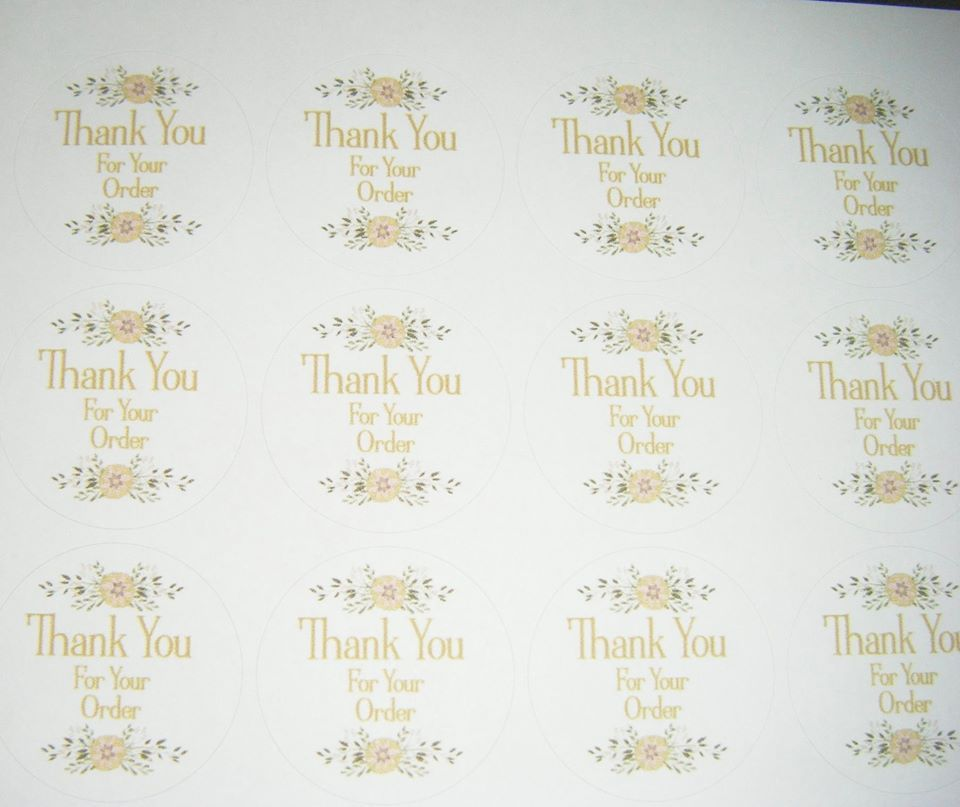 A4 35 Per Sheet Sheet of Thank You For Your Order Stickers