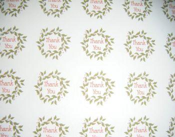 A4 35 Per Sheet Sheet of Thank You Wreath Stickers