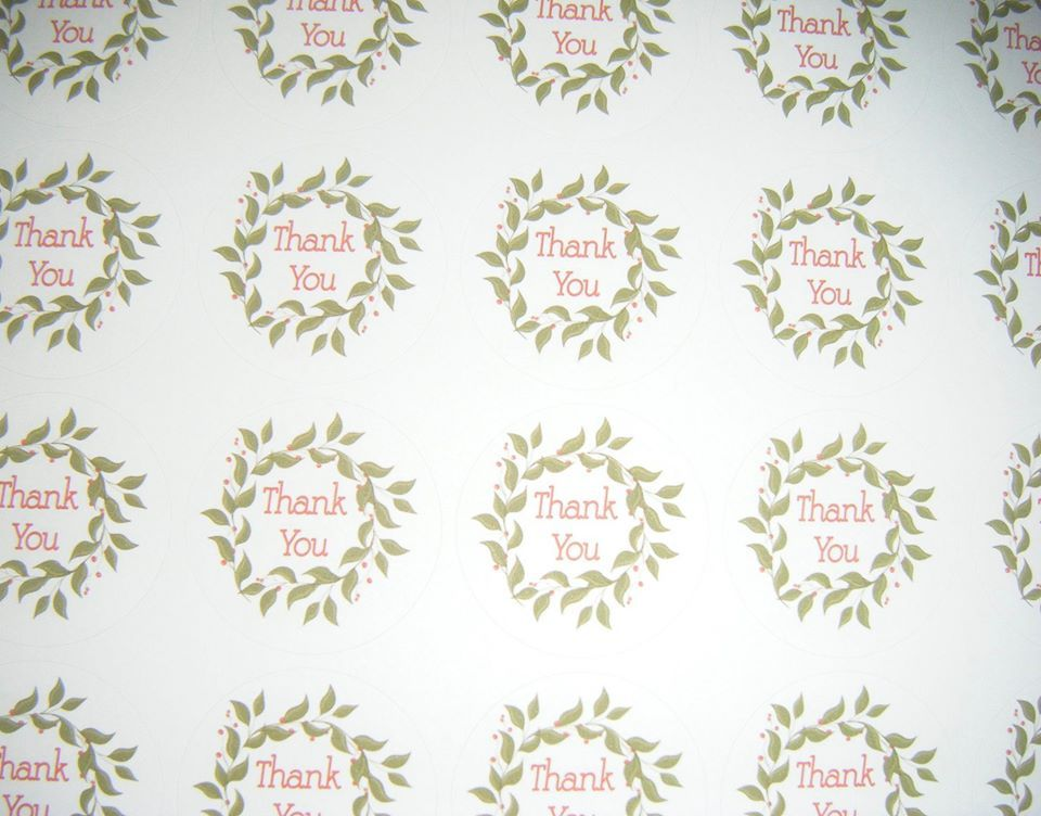 A4 35 Per Sheet Sheet of Thank You Wreath Stickers