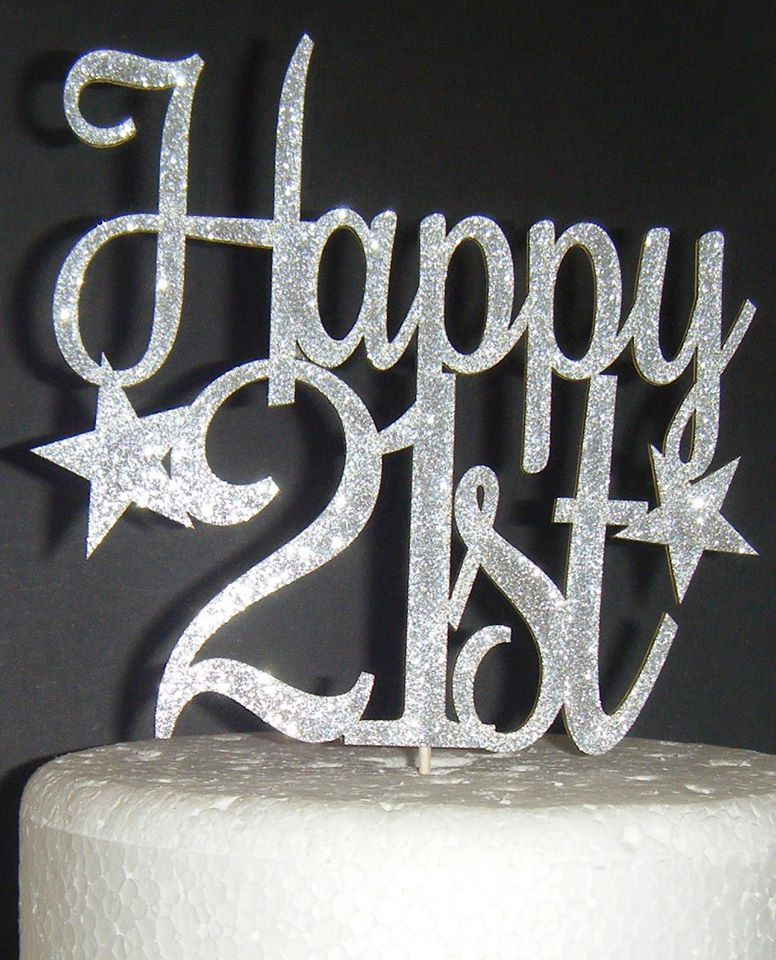 Happy 21st 30th 40th 50th 60th etc  or ANY number Cake Topper Stars