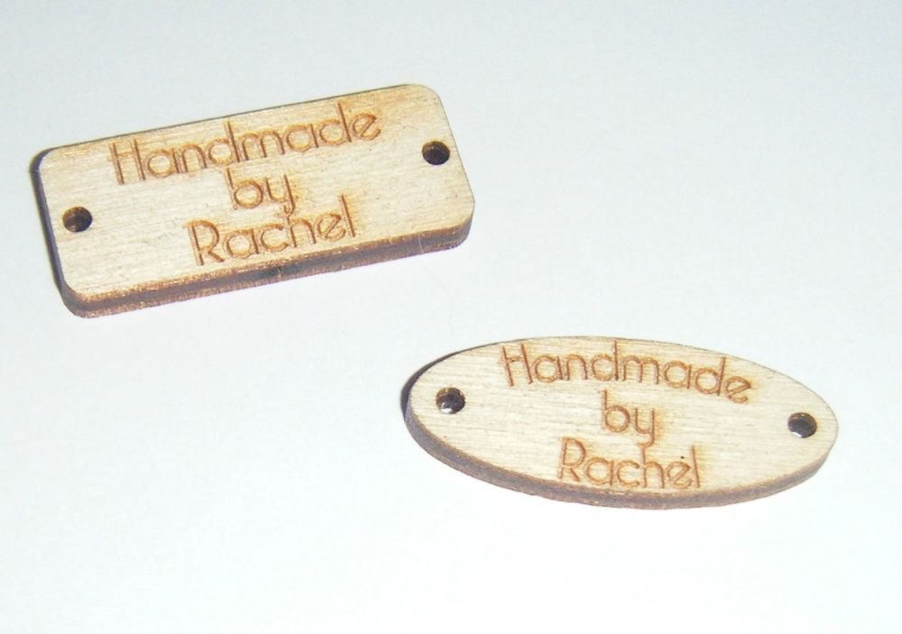 10 x Wooden Sew in Tags Labels Small Size - Custom Order