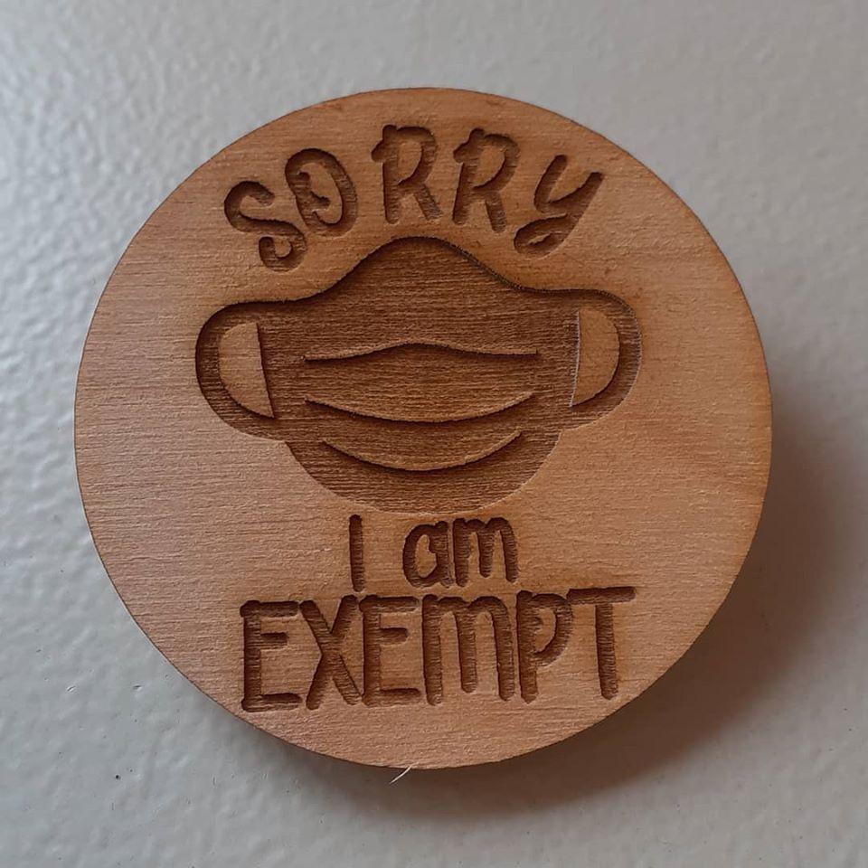 Wooden Engraved Badge - Mask Exempt 50mm