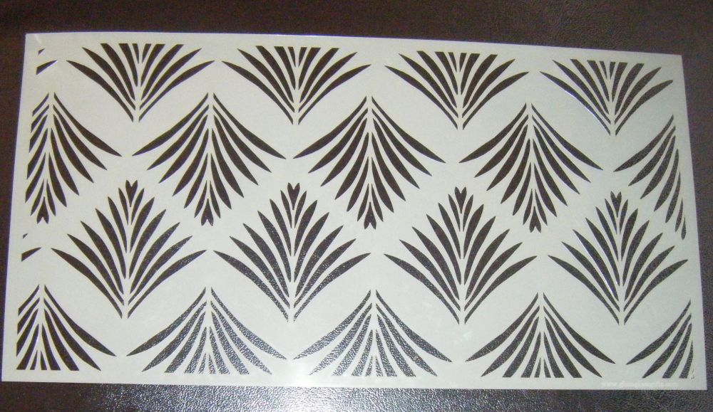 Art Deco Fan Leaf Pattern Cake Decorating Stencil Mylar Polyester Film