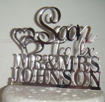 Soon To Be Mr + Mrs Wedding Custom Surname Cake Topper