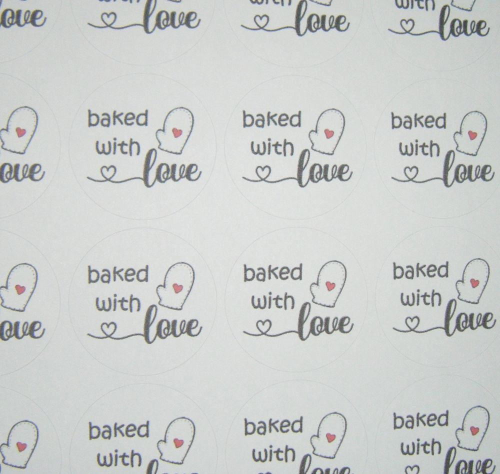 A4 35 Per Sheet Sheet of Baked With Love Circle Stickers