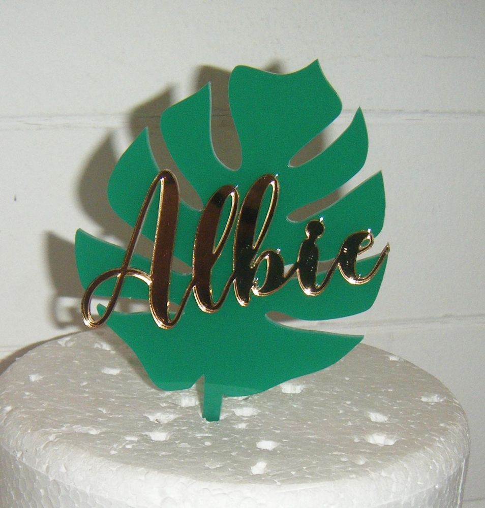 Custom Word Name On Tropical Leaf Cake Topper or Cake Embellishement