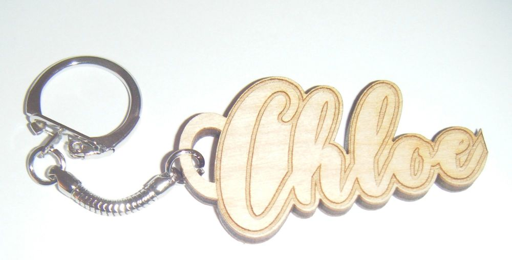 Custom Name Keyring - Lasercut Engraved Birch Wood
