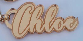 Custom Name Keyring - Lasercut Engraved Mirror Acrylic