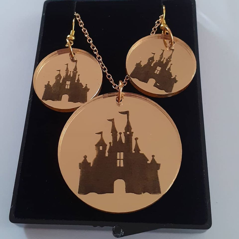 Castle Earring and Pendant Set Necklace