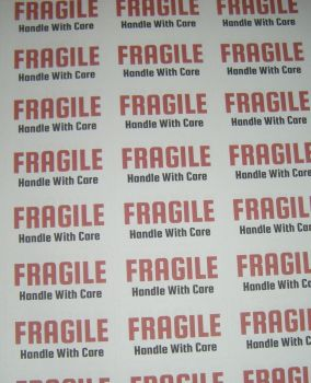 A4 Sheet of FRAGILE Handle with Care Stickers