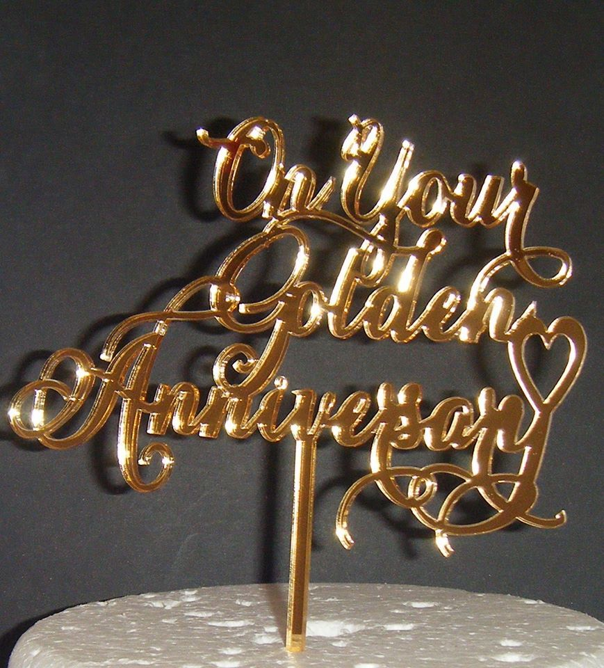 On Your Golden Anniversary Cake Topper