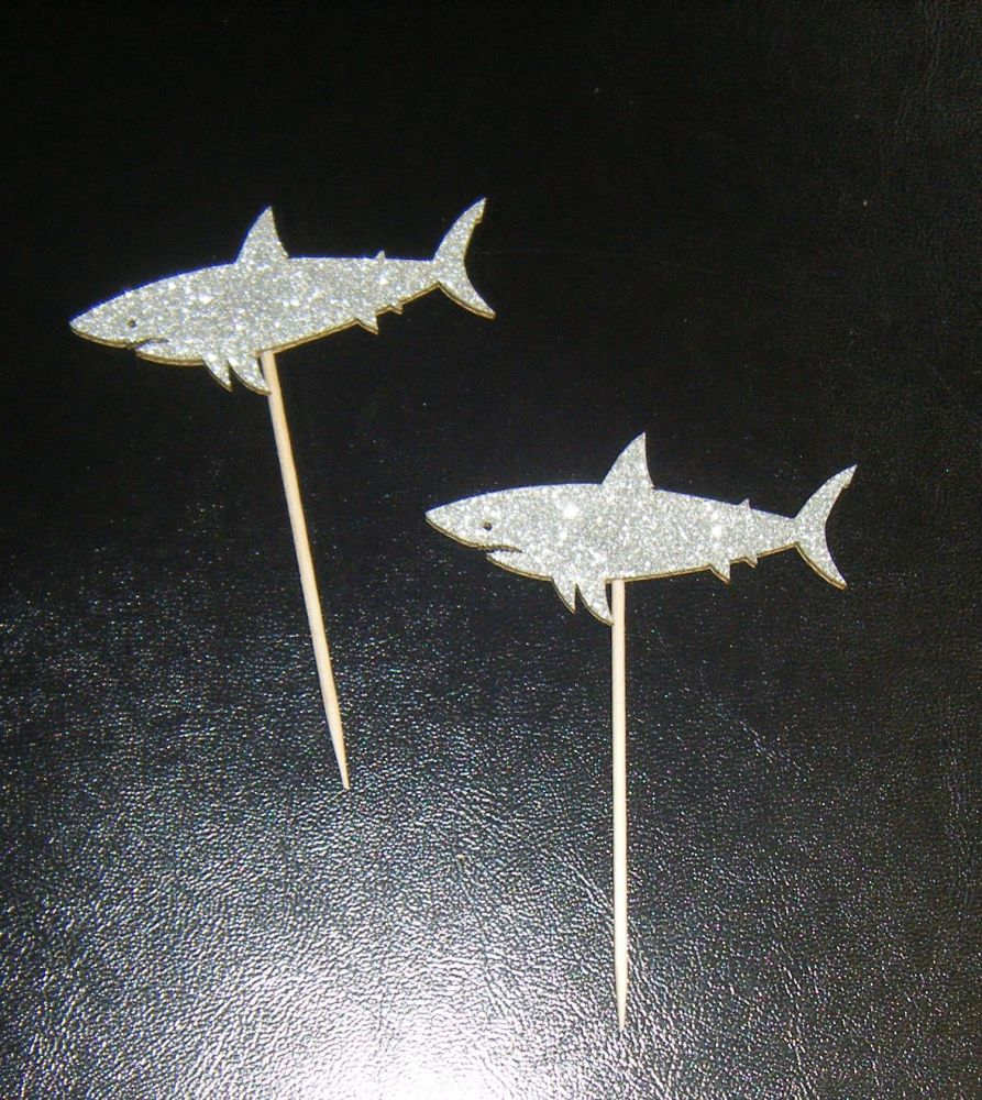 Glitter or Plain Card  - Shark -  Cupcake Picks