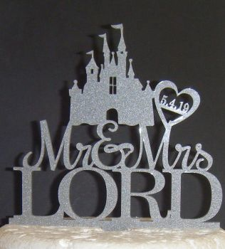 Mr + Mrs Name Date Heart Castle Cake Topper   (or same sex)