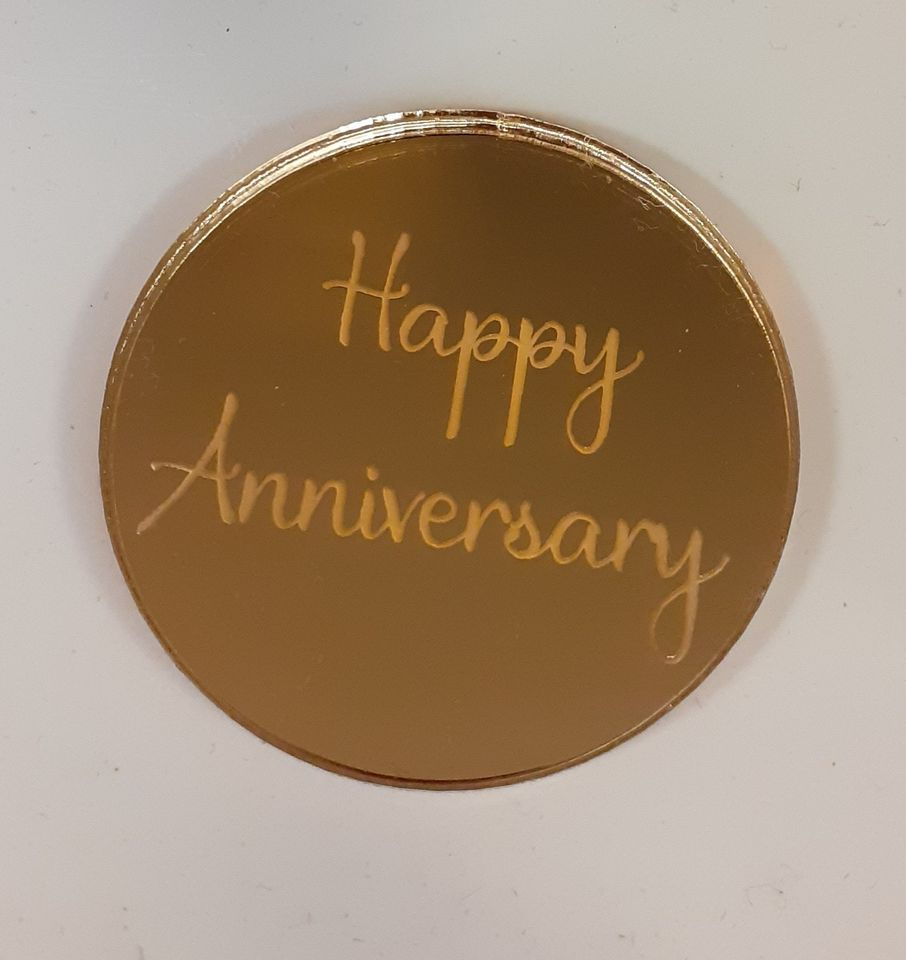 Mirror Acrylic Luxury Mini Disc for Cakes etc - Business or Wedding, Christening etc