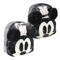 Mickey Mouse Mini Backpack Silver Sequins  with Plush Face