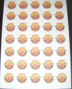 Sheet of Round Happy Halloween Stickers A4