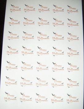 Sheet of Round Happy Halloween Stickers A4 Design 2