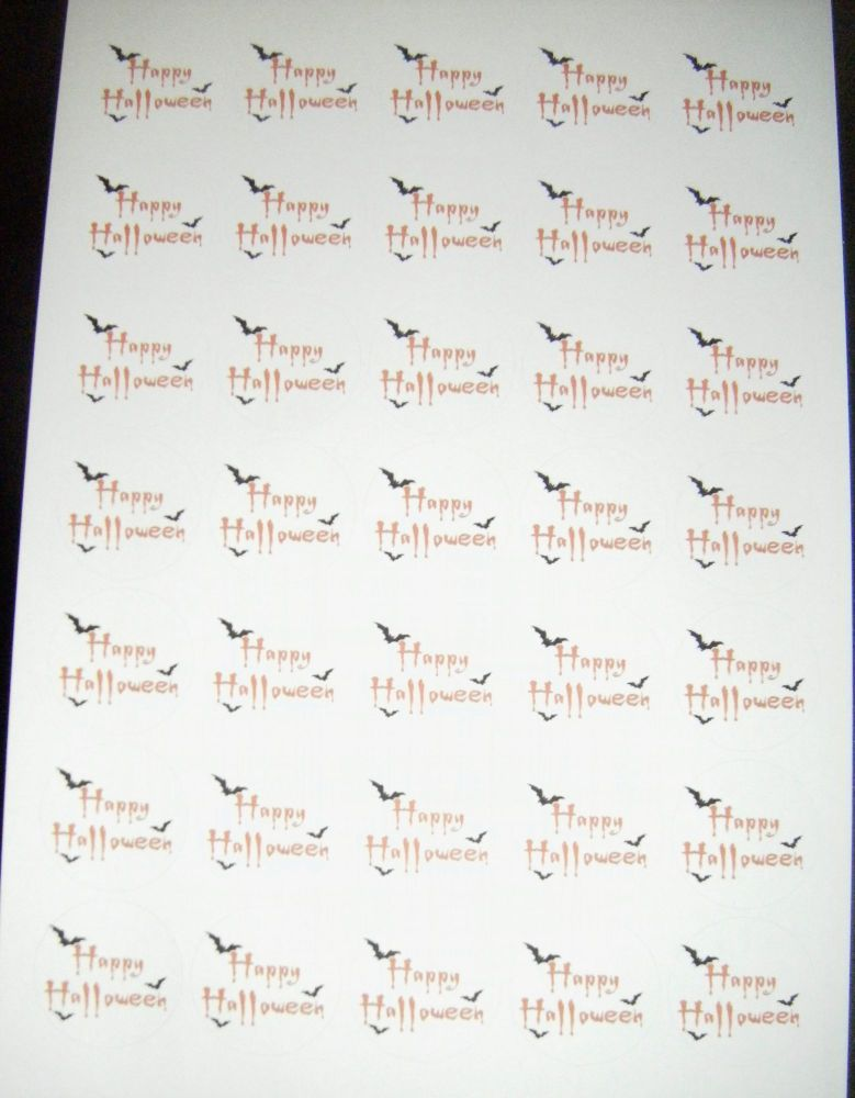 Sheet of Round Happy Halloween Stickers A4 Design 2