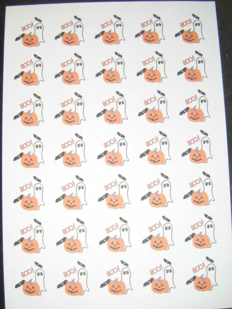 Sheet of Round Boo Ghost Halloween Stickers A4