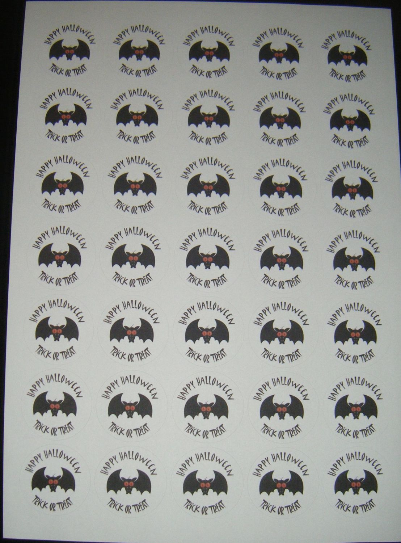 Sheet of Round Happy Halloween Stickers A4 Design 4