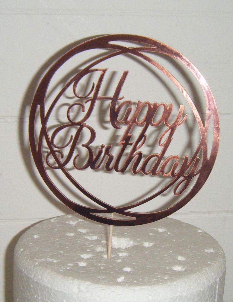 Happy Birthday Cake Topper Circle