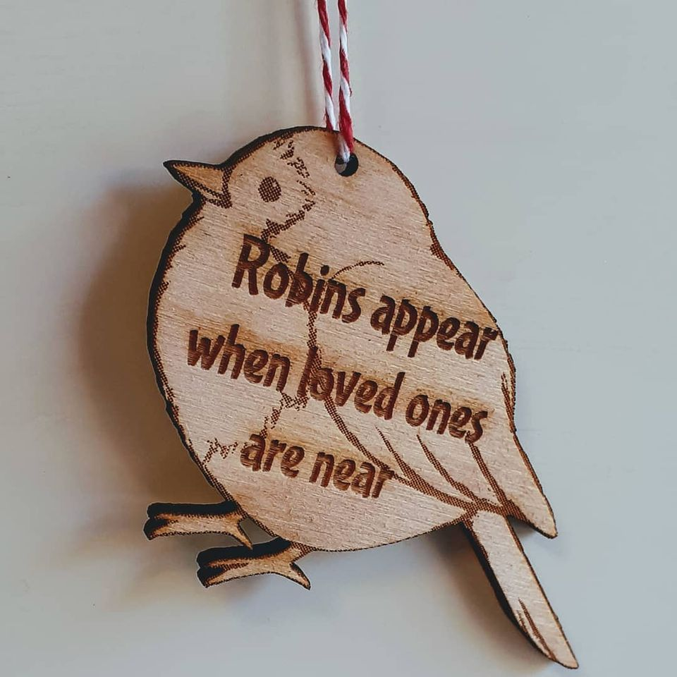 Robins Appear Wood Shape Christmas Tree or Wall Hanging