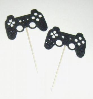 Game Controller Glitter or Plain Custom Made Cupcake Cake Picks