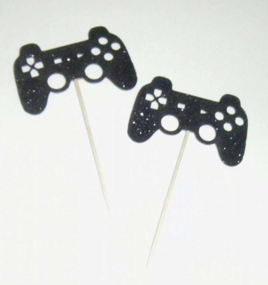 Game Controller Glitter or Plain Custom Made Cupcake Cake Picks