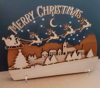 Luxury Acrylic and Wood Merry Christmas Scene
