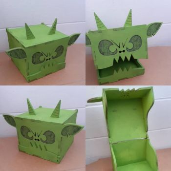 Wooden Fun Green Monster Painted Box With Hinge Lid
