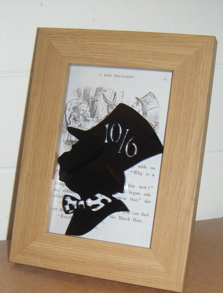Alice In Wonderland - Mad Hatter -  Wooden Frame - Lasercut Acrylic Silhoue