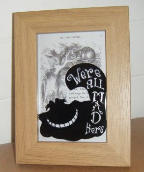 Alice In Wonderland - Cheshire Cat -  Wooden Frame - Lasercut Acrylic Silhouette
