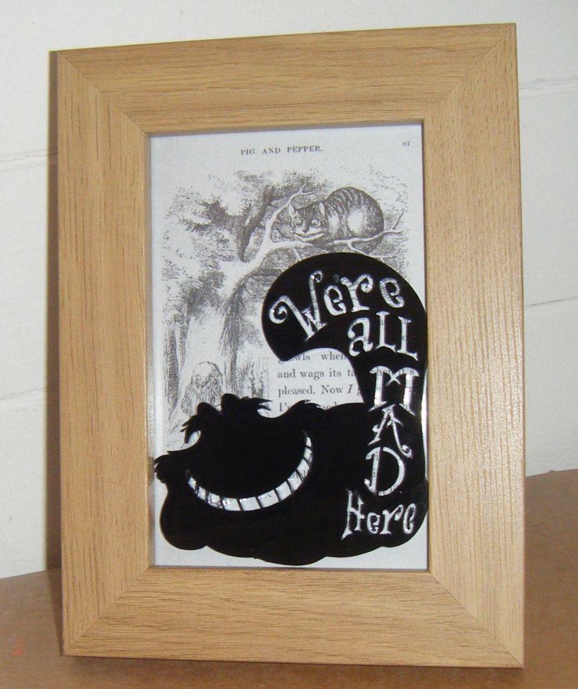 Alice In Wonderland - Cheshire Cat -  Wooden Frame - Lasercut Acrylic Silhouette