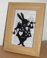 Alice In Wonderland - March Hare -  Wooden Frame - Lasercut Acrylic Silhouette