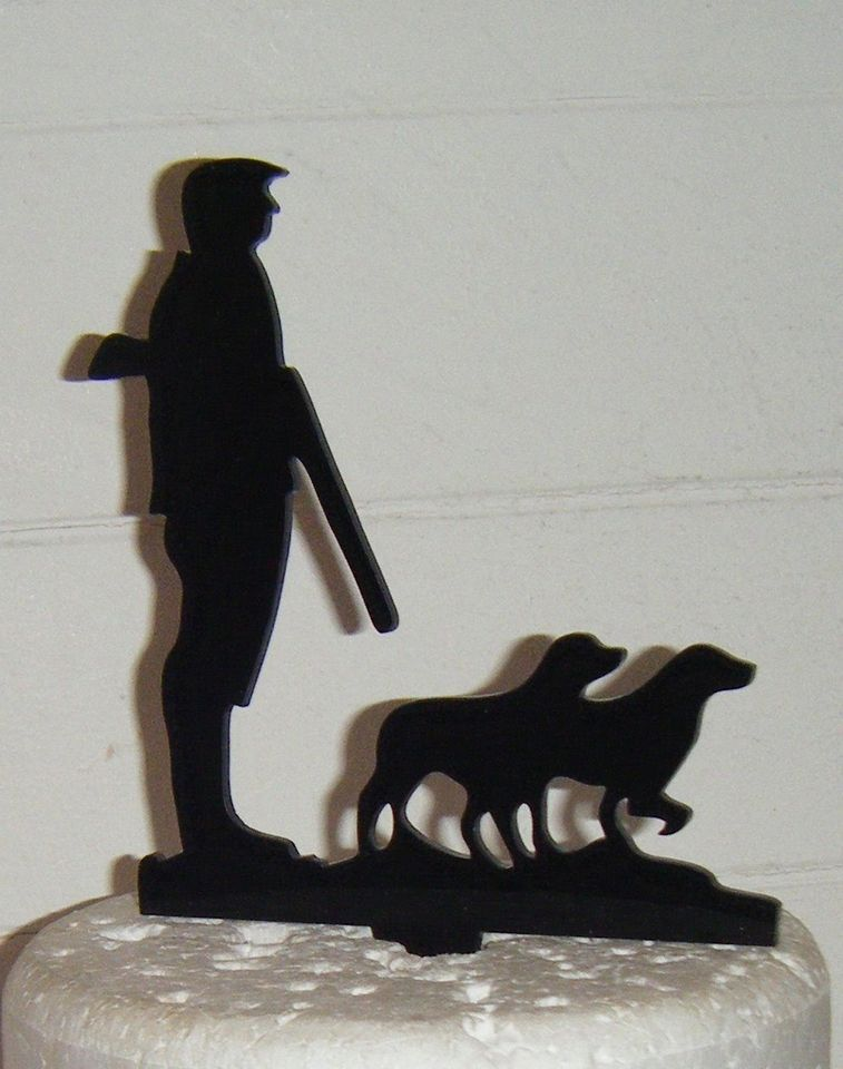 Shooting Hunting Man with Dogs Silhouette Cake Topper