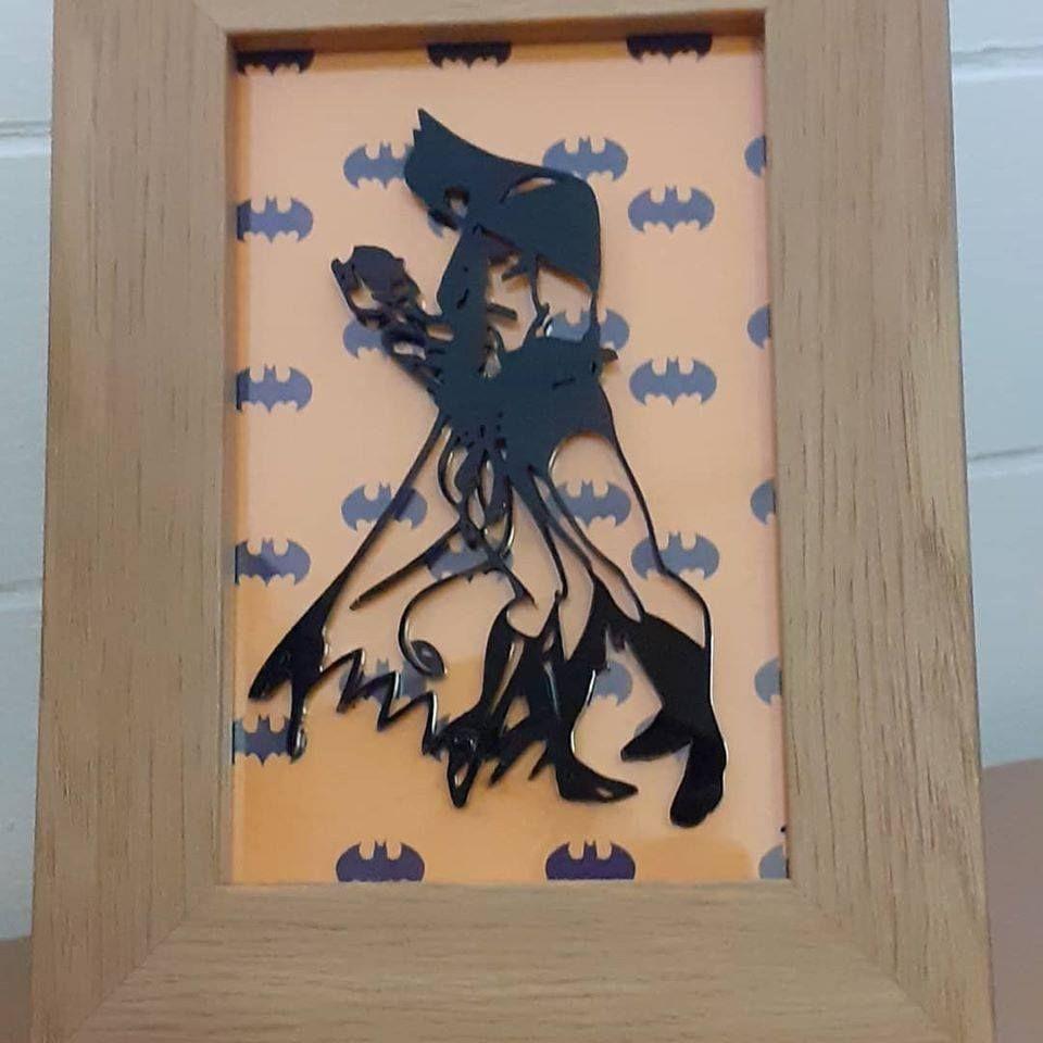 Batman and Batwoman -  Wooden Frame - Lasercut Acrylic Silhouette
